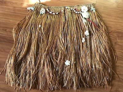 Vintage Authentic Souvenir GRASS HULA SKIRT Woven with Shells & Flowers #2