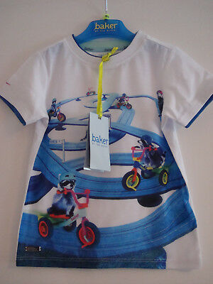 Brand New With Tags Ted baker Baby Boys Racoon Road T-shirt 18 - 24 Months White