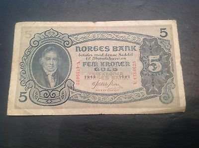 5 Norway Kroner banknote dated 1943