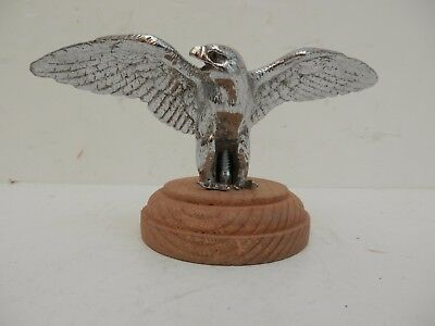 Chrome Plated Eagle Car Mascot. Mounted on  Turned Wood Base.