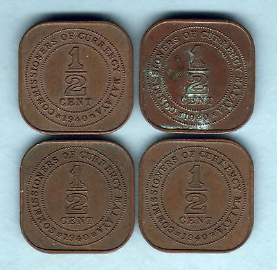 Malaya. 1940 1/2 Cent X 4 Coins..  gVF-gEF - Some with Trace Lustre