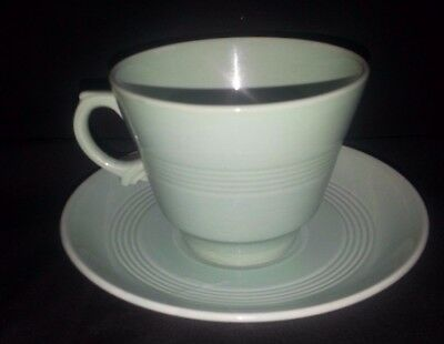 VINTAGE WOODS WARE BERYL LARGE CUP AND SAUCER WARTIME UTILITY RETRO 1940s