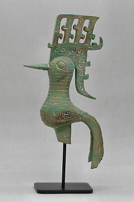 Fantastic Sculpture Of An Ancient Chinese Shu Bronze Phoenix Individually Made