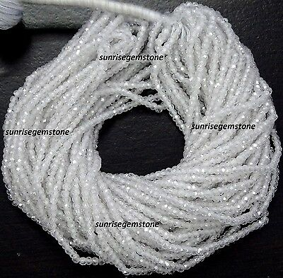Full 13 Inch X 5 Strand AAA Quality White Color ZIRCON Gemstone Faceted Rondelle