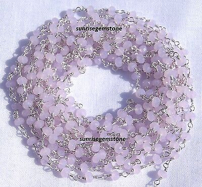 20 Feet Rose Quartz Chalcedony Silver Plated Bead Wire Wrapp Beaded Rosary Chain