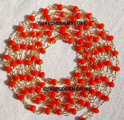 20 Feet Coral Chalcedony Faceted Rondelle Beads Wire Wrapped Beaded Rosary Chain