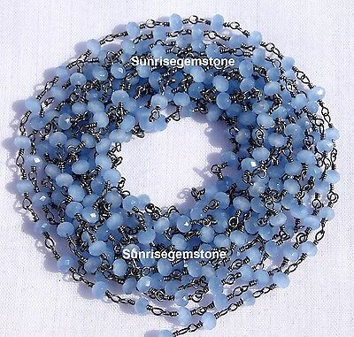 20 Feet Sky Blue Chalcedony Black Plated Beads Wire Wrapped Beaded Rosary Chain.
