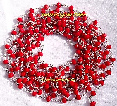 20 Feet Red Chalcedony Faceted Bead Silver Plated Wire Wrapped Rosary Chain Sale