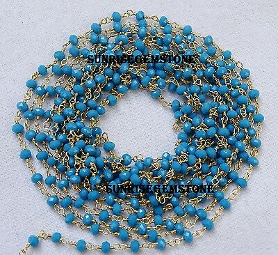 20 Feet Turquoise Chalcedony Gold Plated Beads Wire Wrapped Beaded Rosary Chain.