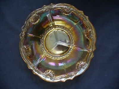 Carnival Glass Ware Peach Glass Segmented Serving Dish