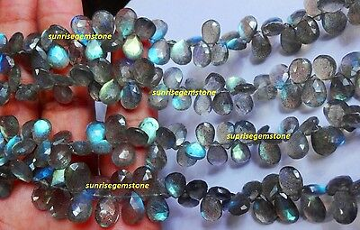 """Full 8"""" Strand Fine Quality LABRADORITE Blue Flash Faceted Pear Beads Briolette."""