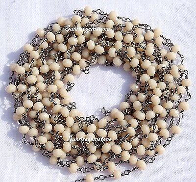 20 Feet Peach Chalcedony Faceted Rondelle Beads Black Plated Rosary Chain Sale.
