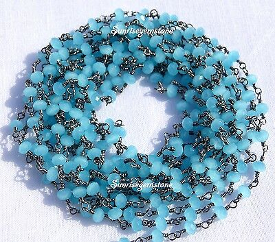 20 Feet Sea Blue Chalcedony Faceted Rondelle Bead Black Plated Rosary Chain Sale