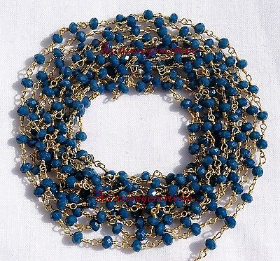 20 Feet Neon Apatite Chalcedony Gold Plated Beads Wire Wrap Beaded Rosary Chain.