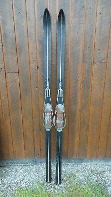 "ANTIQUE Wooden 82"" Long BLACK FinisSkis + Bindings Signed CORTINA"