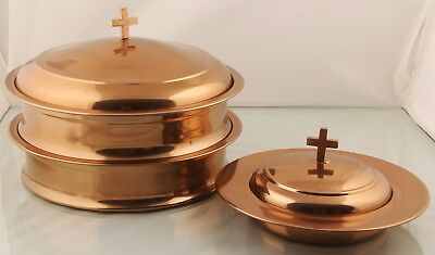 Halloween 2 Communion Tray and 1 Bread Plate with Lid (Copper Finish)