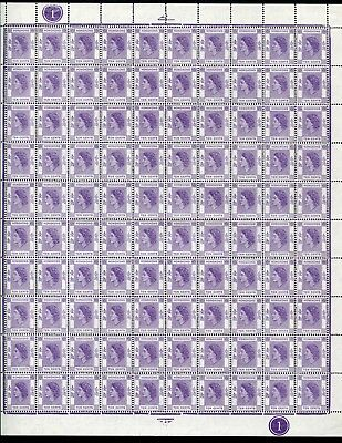 1954 Hong Kong GB QEII Definitives10c in Complete Sheet of 100 stamps MNH U/M