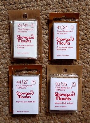 Showgard Stamp Mounts 24/41, 41/24, 30/35, 44/27 Clear Background for GB Stamps