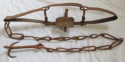 Early Hand Forged Iron Trap&Drag Hook Old Vtg Antique Primitive Blacksmith Made