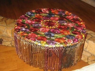 Antique MATYO SILK EMBROIDERED TABLECLOTH  Hungarian Art Nouveau Multi-Color