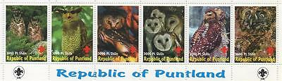 Strip Of Six Owl Wild Bird Republic Of Puntland Mnh Stamps Sheetlet