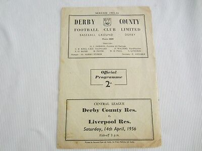 1955-56 CENTRAL LEAGUE RESERES DERBY COUNTY v LIVERPOOL