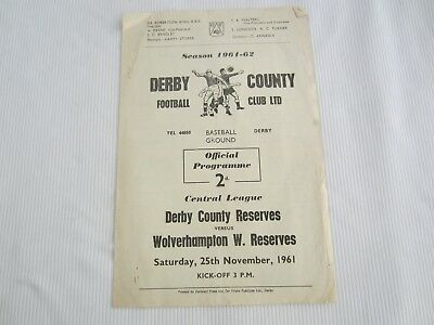 1961-62 CENTRAL LEAGUE RESERES DERBY COUNTY v WOLVERHAMPTON WANDERERS