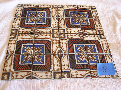 "Handmade Tuscan Mexican 12x12"" Tile Sheet Blue Brown Intricate Design Japan  G"