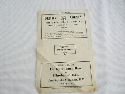 1956-57 CENTRAL LEAGUE RESERES DERBY COUNTY v BLACKPOOL