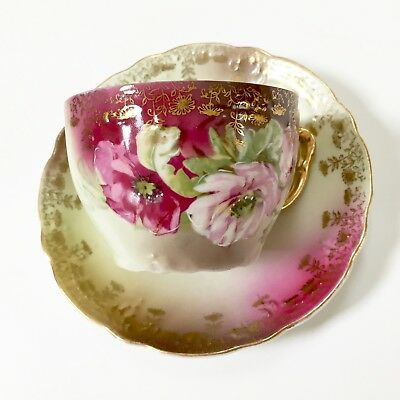 Vintage Cup & Saucer Hand Painted  Nippon Gold Pink Roses
