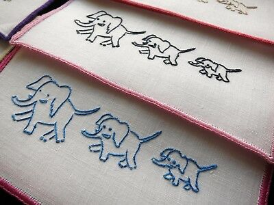 BABY ELEPHANT WALK Vintage Linen 6 Cocktail Napkins Hand Embroidery CUTIES!