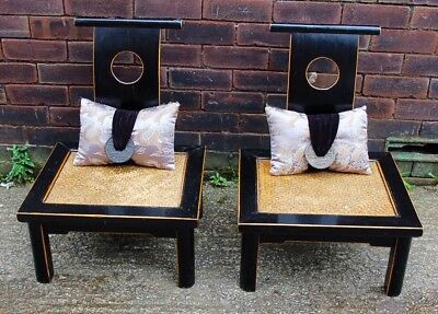 Stunning Pair Chinese Low Chairs Stools With Backs Black Lacquer Bedside Tables