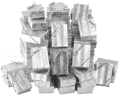 LOT OF 100 SILVER COTTON FILLED BOX JEWELRY GIFT BOXES EARRING BOX 3 1/4 x 2 1/4