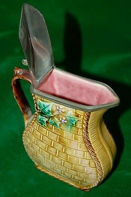 Rare Beautiful  Antique Majolica Lidded Jug Stunning Colours