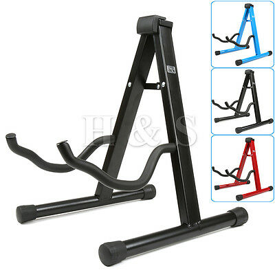 Universal Folding A-Frame Electric Acoustic Bass Guitar Floor Stand Holder Black