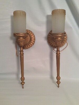 Vintage wired brass wall sconces
