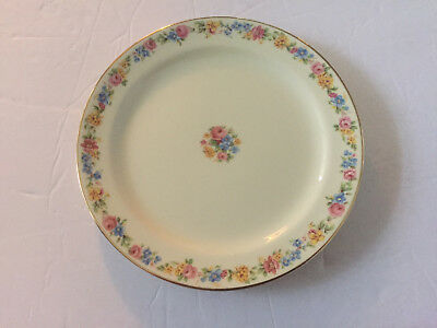 """Taylor Smith & Taylor China TST327 Rose Floral Rim Gold - 6-3/8"""" BREAD PLATE"""
