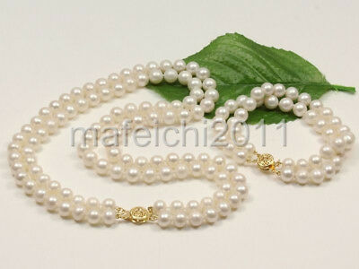 genuine AA 8-9mm White Natural Fresh water pearl necklace bracelets set