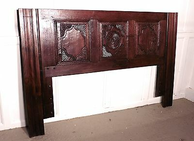 French Gothic Carved Oak Bed Head Board