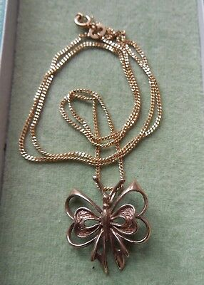 Vintage 9ct Gold Butterfly Pendant and Chain, Hallmarked London 1977