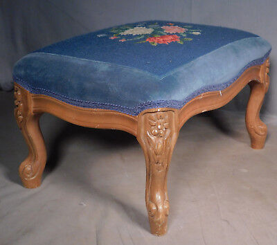 Vintage Louis XV French Style Carved Wood Needlepoint Foot Stool cabriole Legs