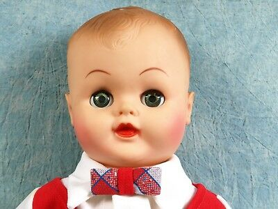 LARGE Vintage Baby Boy doll plastic Pinwheel Open and close eyes DRINK WET