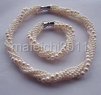 """oveliness Natural South Sea Pearl 5rows necklace set 18""""7.5"""""""