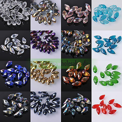 10/30pcs 20x10mm Faceted Teardrop Glass Crystal Loose Spacer Beads Jewelry DIY