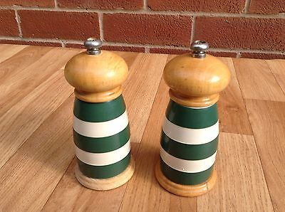 T.G. Green, Cloverleaf, Cornishware, Salt and Pepper Grinders, Geen & White