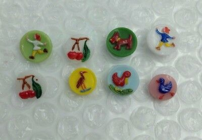 8 Vintage c1940 Glass Self Shank Realistics Goofies Kiddie Buttons