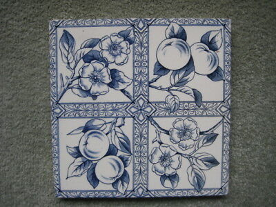 Old Tile 6X6 Inches Blue Flowers And Fruit