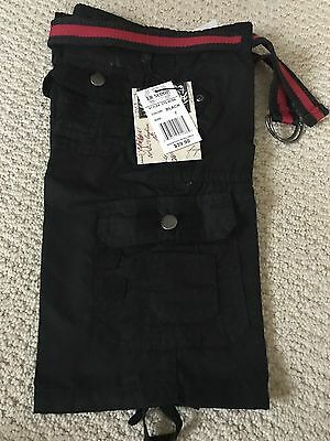 NWT Boy's LR Scoop Solid Black Belted Cargo Pocket Shorts ALL SIZES 4-7 8-18