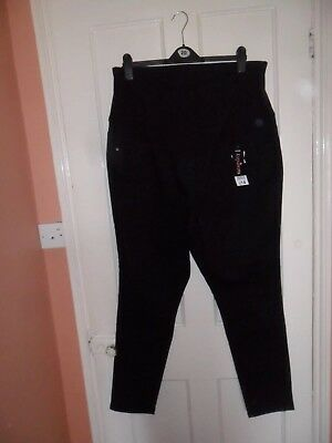George- Ladies Black Maternity Trousers Over Bump BNWT Size 20 /29L