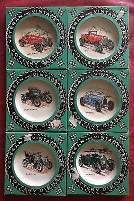 1950s Wade Pottery; 6 veteran cars in boxes; Bentley, Alfa, Bugatti, Cad, Olds,